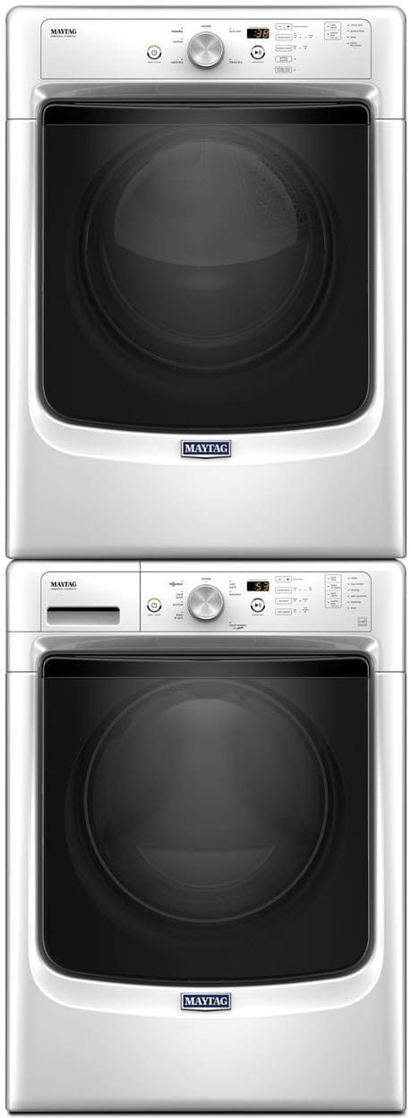 maytag mawadrew113 stacked washer u0026 dryer set with front load washer and electric dryer in white