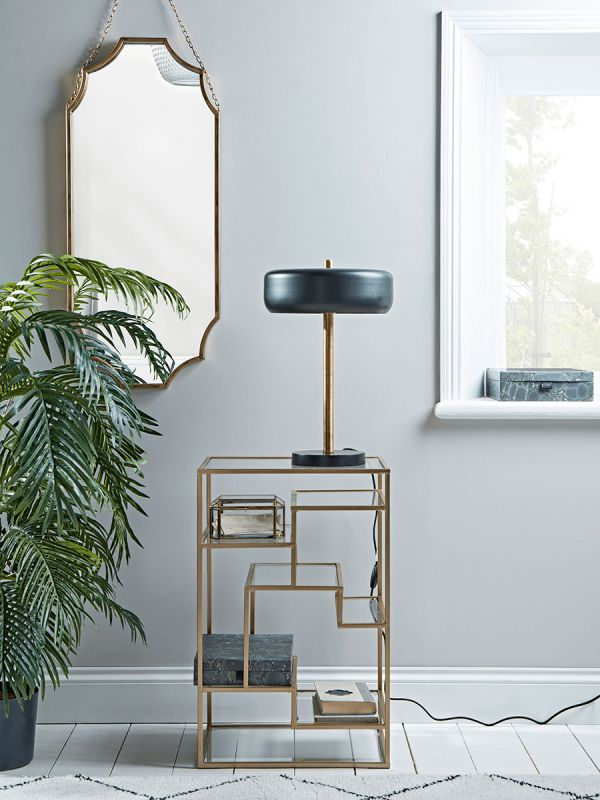 NEW Brass & Glass Bedside Table - Luxury Home Furniture