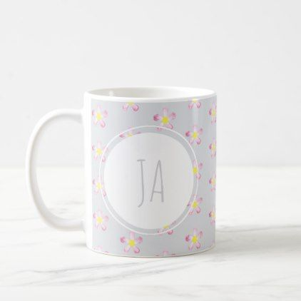Stylish Vintage Floral Gray Monogram Initials Coffee Mug - simple clear clean design style unique diy