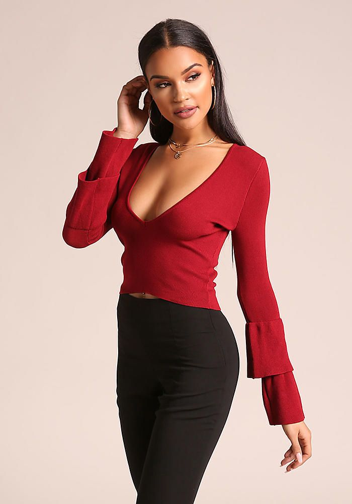 398384a6f9f9a0 Junior Clothing | Burgundy Tiered Bell Sleeve Crop Top - Crop Tops +  Bustiers - Tops - Clothes | Loveculture.com