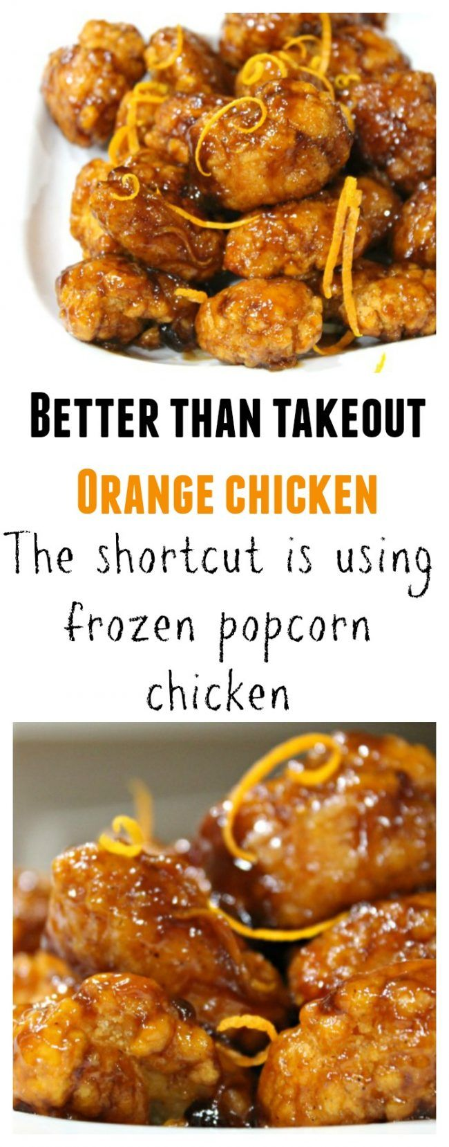 Orange Chicken - Fake Out Take Out Recipe This copycat restaurant favorite starts out with frozen popcorn chicken.  While that is cooking in the oven just mix up the sauce.  Once the chicken is ready, give it all a toss together.  Heat can be adjusted to your liking.