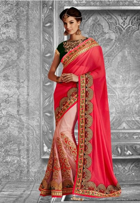 Peach Embroidered Net Party Wear Saree