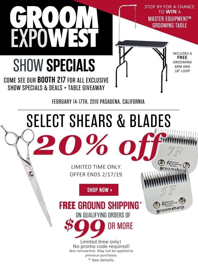 Select Shears And Blades Are 20 Off Through 2 17 19 Grooming Specials Grooming Products Pet Products Dog Products Cat Grooming Salon Pet Groomers Groomer