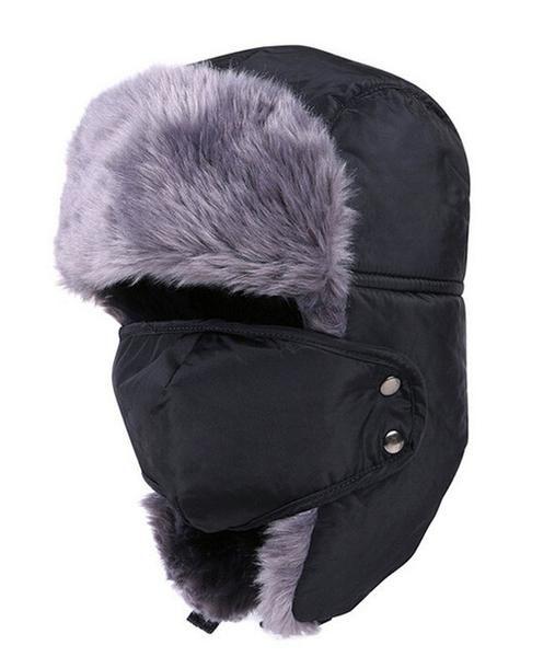 3d1de133 rRussian Earflap Winter black fur hats Outdoor Windproof Thick warm winter  snow man women cap Face Mask men cycling hat
