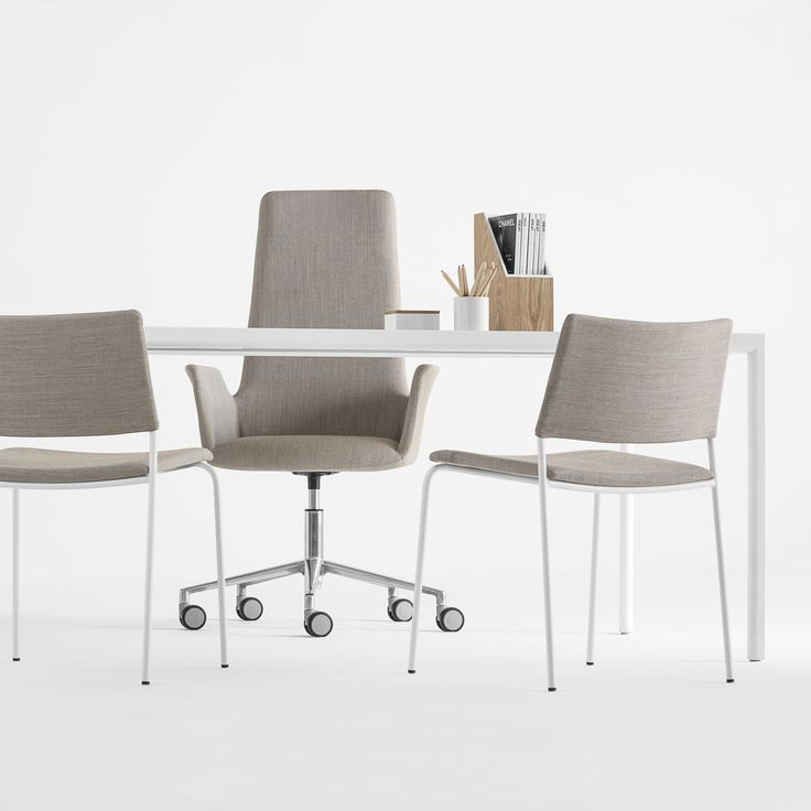 TEN is a collection of multipurpose chairs characterised by an essential, neutral design. The collection comprises chairs in four-legged and rod sled base versions. All versions are stackable and optionally can be fitted with a fold-away writing tablet. The seat and backrest can be upholstered in any leather or fabric from the INCLASS swatch cards or in fabrics supplied or specified by the customer. The metallic structures are finished in chrome or polyester paint in white, black and…