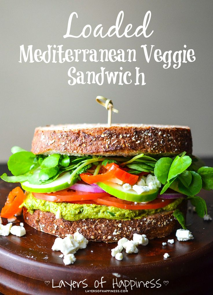 Loaded Mediterranean Veggie Sandwich.