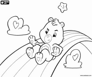Grumpy Bear Sliding Down The Rainbow Coloring Page