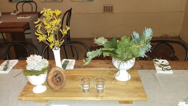 Rustic all natural greenery centrepiece