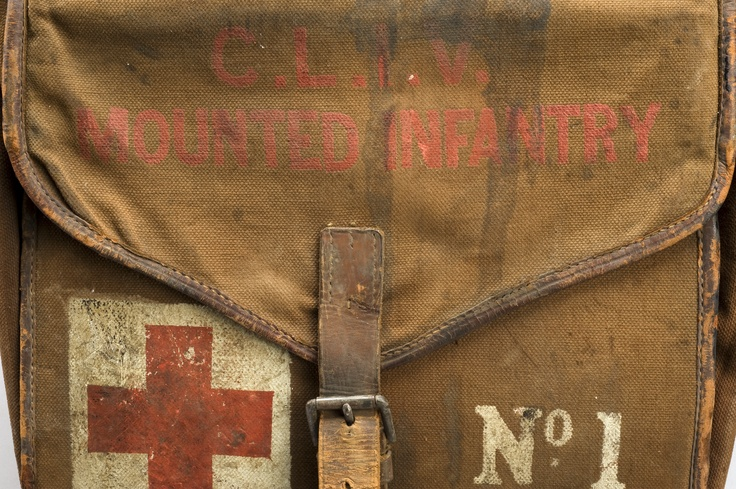 "★ Saddle bag first aid kit, England, 1914-1918: ""Marked with the words ""Mounted Infantry"", this First World War British Army first aid kit was made to be carried on a horse, with each box hung either side of the horse's body. The kit contains bandages, dressings, hypodermic syringes and carron oil for burns, all made by Burroughs Wellcome  Co. ..."" Credits: Science Museum London"
