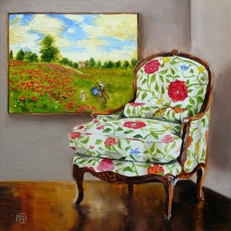 A Chair For Claude, Painting By Artist Kimberly Applegate