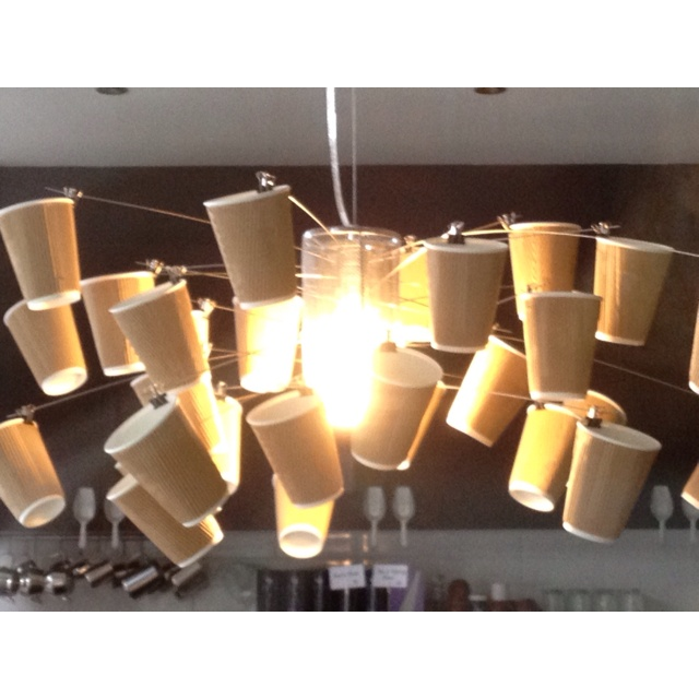 Cafe Lighting: A quirky pendant light feature tailored to suit a cafe.