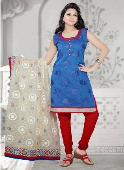 Divine Blue Chanderi Cotton Silk #Salwar_Kameez