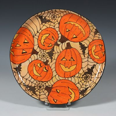 pumpkin patch jack o lantern spider web and bat plate halloween - Halloween Plates Ceramic