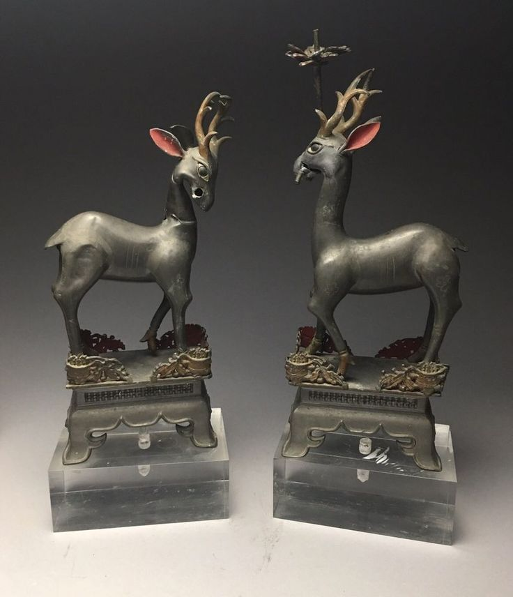 Pair Of Rare Antique Chinese Swatow Pewter Deer Candlesticks As-Is  | eBay
