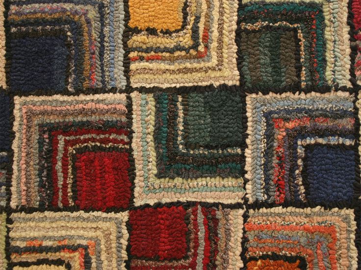 Detail of antique Log Cabin geometric hooked rug, early 20th century | via 1stDibs