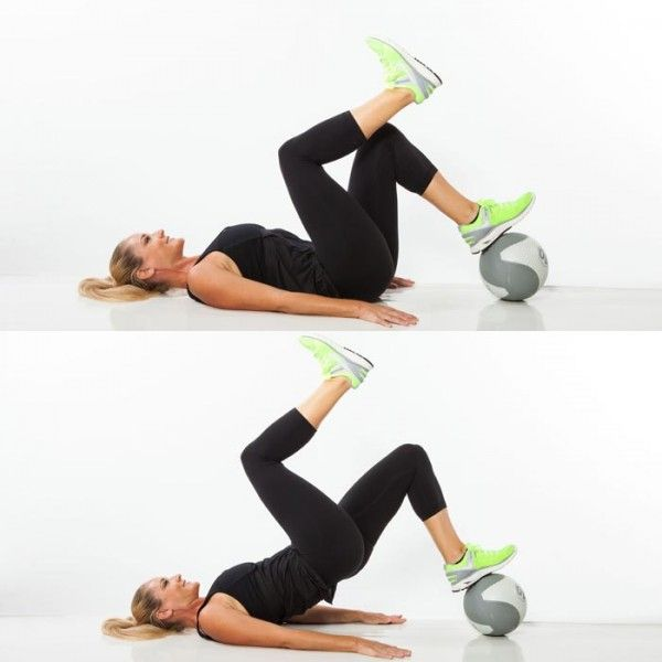Single-Leg Med Ball Bridge - Hip extensions can be a joint-friendly alternative to traditional squats and lunges, but for more of a challenge for your glutes, hamstrings, and even lower back (without the added stress on your knees), try single-leg bridges on a medicine ball. Try up to 3 sets of 10 to 15 reps on each leg