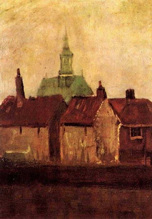 Vincent van Gogh. Cluster of Old Houses with the New Church in The Hague. August 1882