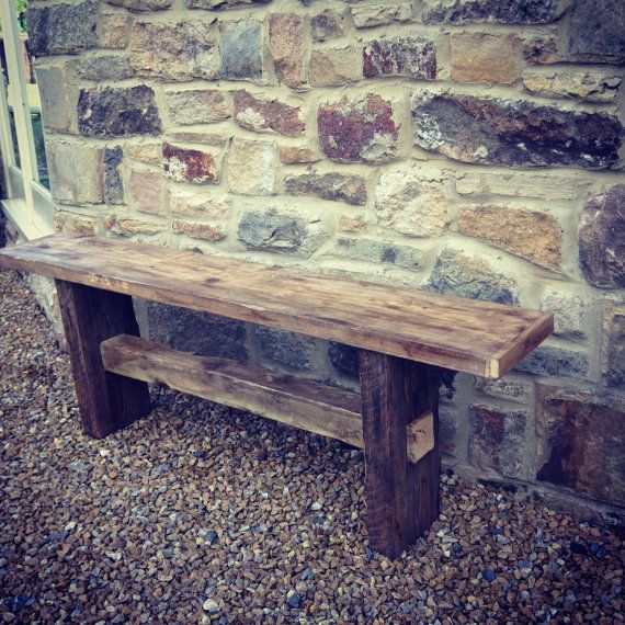 Rustic Solid Scaffolding Wood Bench. Farmhouse and Country style