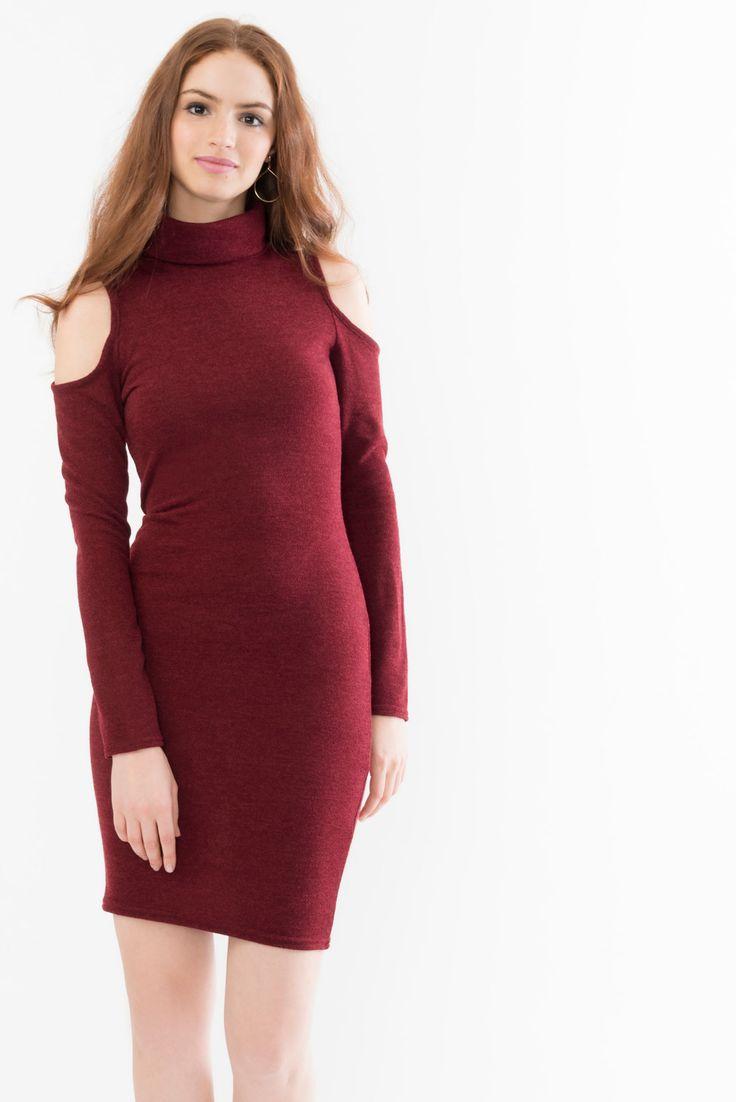 Cold Shoulder Roll Neck Dress