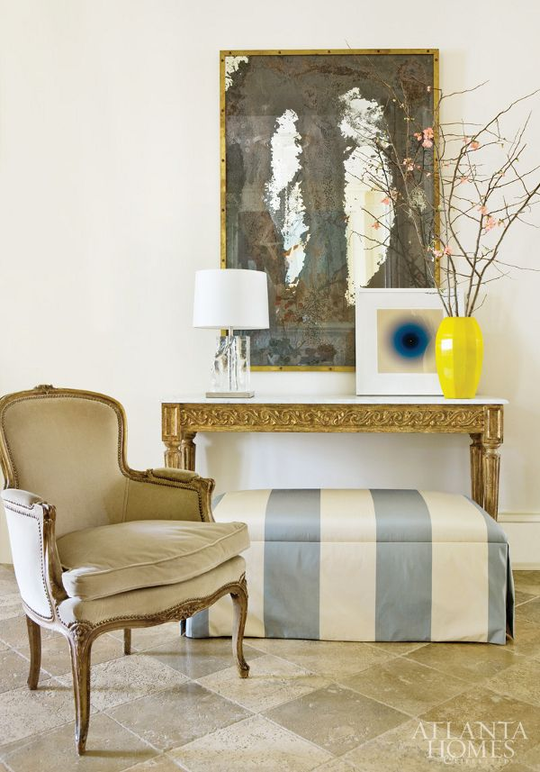 Nice velvet on french chair! wide silk stripes on ottoman under console table