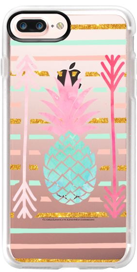Casetify Protective iPhone 7 Plus Case and iPhone 7 Cases. Other Fruit iPhone Covers - Pineapple Pink Mint Stripes Arrow Pattern by Girly Trend | Casetify