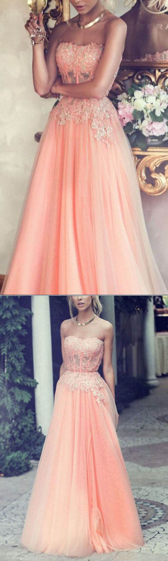 Charming Prom Dresses, Strapless Pom Dress, Pink Prom Dresses, Long Evening Dresses, Women Party Dresses