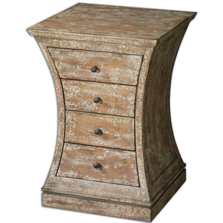 """Данная тумба смело может использоваться и как приставной столик. Имеет необычную вогнутую форму, станет изюминкой интерьера.  У модели четыре выдвижных ящика.  Изготовлена из древесины березы, выполнен в отделке """"белая кость"""".             Материал: Дерево.              Бренд: Uttermost.              Стили: Лофт.              Цвета: Бежевый, Коричневый."""