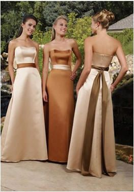 Any Pictures Of Full Length Gold Bridesmaid Dresses? :  wedding bridesmaid ceremony floor length gold ivory long reception wedding wedding party Copper Gold Bridesmaids Dress