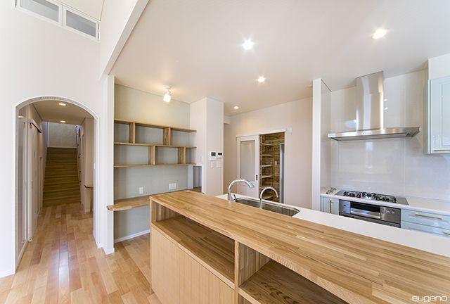 開放的で収納力の高いキッチン。#キッチン #ldk #住宅 #家づくり #新築 #平屋建て #キッチンハウス #設計事務所 #菅野企画設計