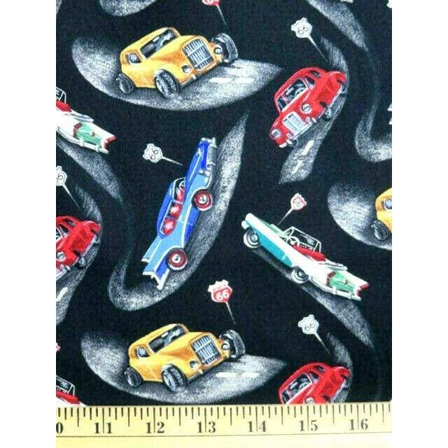 Route 66 Classic Cars Black Blank Quilting Fabric #1817