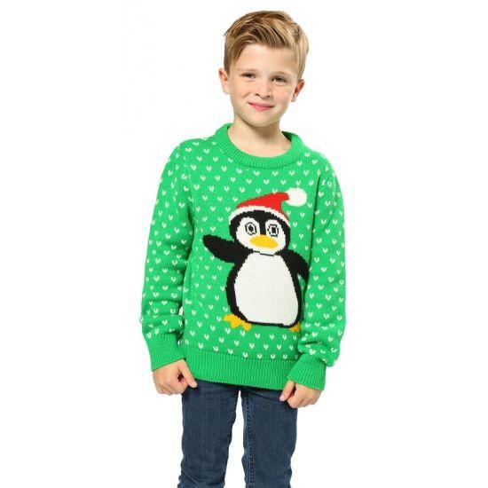 Foute pinguin print truien  Kersttrui groen met pinguin voor kinderen. Groene kersttrui met print van Rudolf het pinguin met de rode neus. Rudolf heeft een 3D neus. De kersttrui is gemaakt van 100% acryl.  EUR 22.95  Meer informatie