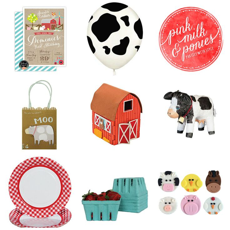 Farm Party Invitations  Cow Print Balloon Farm Favour Bags  DIY Barn Kit  Cow Pinata Red Check Paper Plates  Berry Punnets  Farm Animal Cupcake Toppers