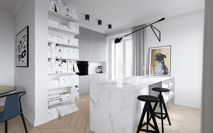 mieszkanie w kamienicy kuchnia z wyspą #marmur