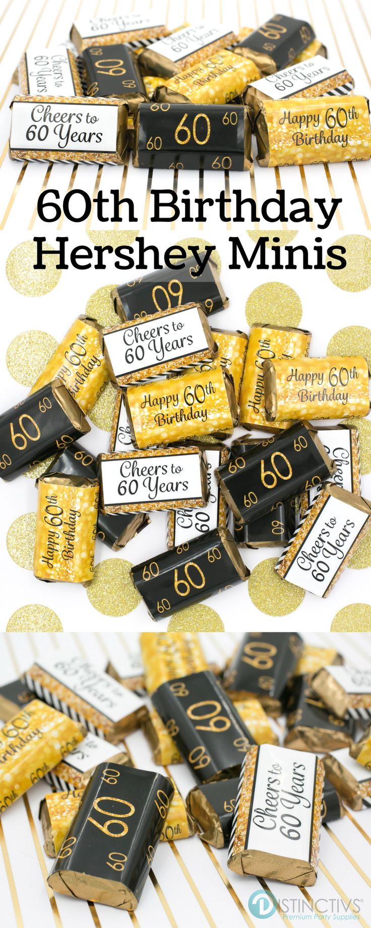 Black and Gold stickers that are designed to wrap perfectly around Hershey's® Miniature Bars!  #60thbirthday #60thbirthdayideas