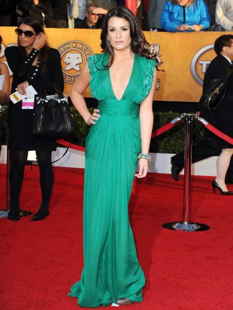 Lea Michele in abito verde smeraldo