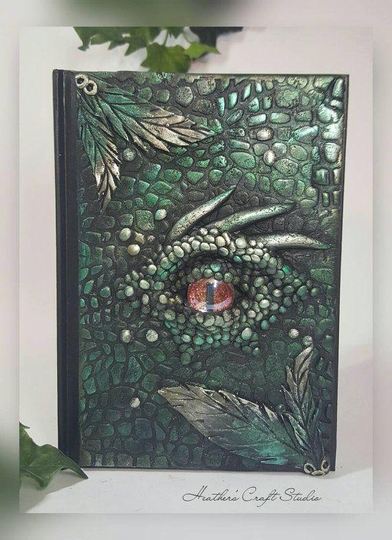 Dragon Eye Journal / Notebook Green Front by HeathersCraftStudio