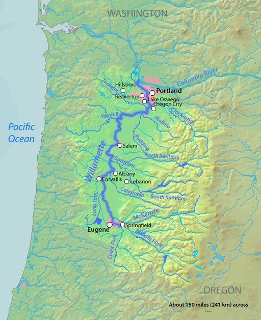 willamette river basin map oregon usa