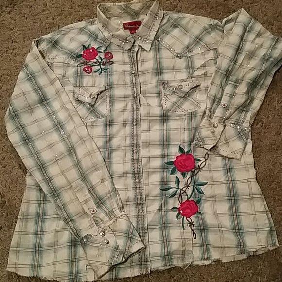 Panhandle Slim Cowgirl Shirt Plaid Panhandle Slim cowgirl shirt with flower embroidery and rhinestone studs. Panhandle Slim Tops