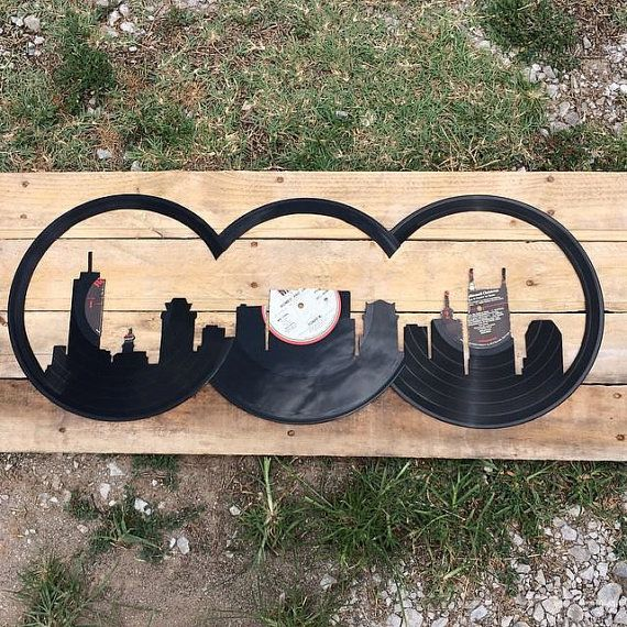 Nashville City Skyline Cutout with Wooden by VinylStateOfMind