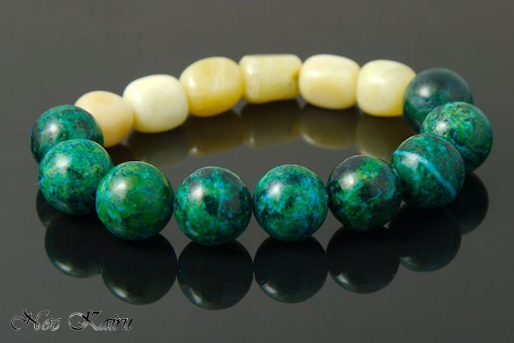 green and ivory bracelet