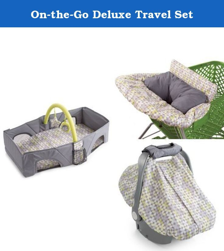 On-the-Go Deluxe Travel Set. Includes Travel Bed, Car Seat Cover, and Cushy Cart Cover. Travel Bed: premium mattress pad for baby's comfort with a removable, washable sheet, fun toy bar with two toys to entertain baby while changing their diaper, easily folds with detachable carry strap for travel. Car Seat Cover: elasticized boarder snugly fits any car seat, sneak peek opening to check on baby without removing entire cover, cover easily stores in the arm pad pocket when not in use, works...