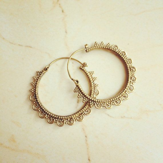 Small Brass Earrings by LalaBoho