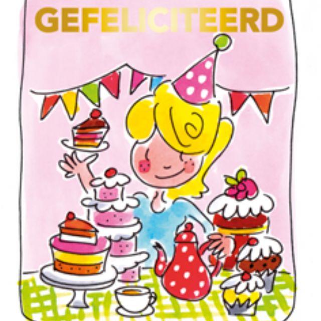 Blond Amsterdam thee kaart Gefeliciteerd (roze)