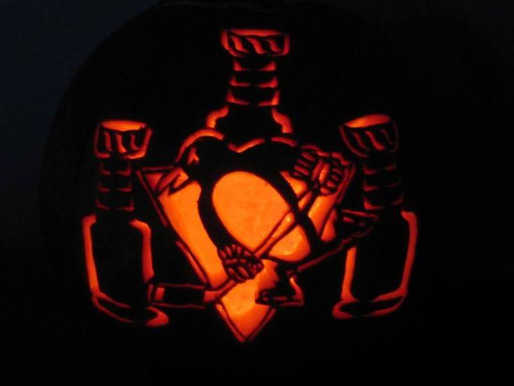 Pittsburgh penguin hockey halloween pumpkin