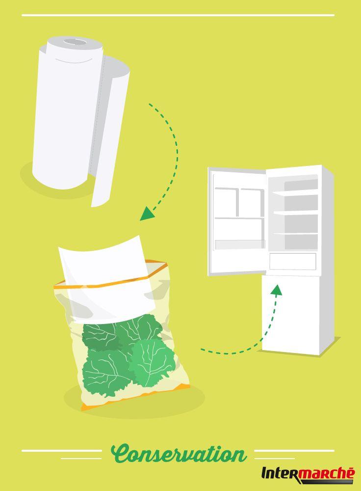 #Astuce : conserver une salade. 1) Mettez un carré d'essuie-tout dans le paquet avant de le remettre au frigo. Votre salade reste fraîche et croquante toute la semaine.