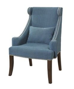 Powell Company Peacock Contemporary Wingback Chair with Chrome Nail Head