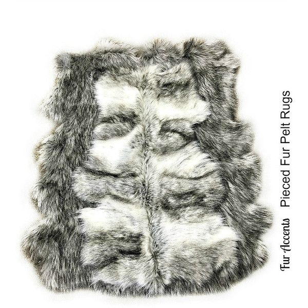 gray wolf faux fur area rug pieced fur pelt rug collection gray shag