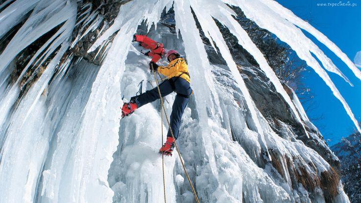 Góry, Zima, Alpinizm, Sople, Lodu