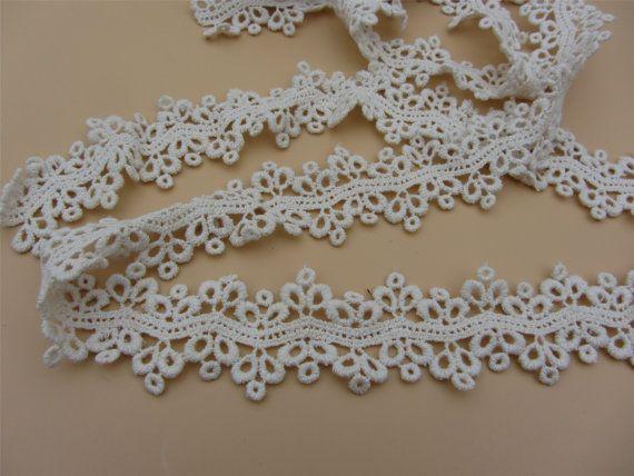 beige cotton lace trim delicate floral hollow up lace trim 3cm  wide 3yards