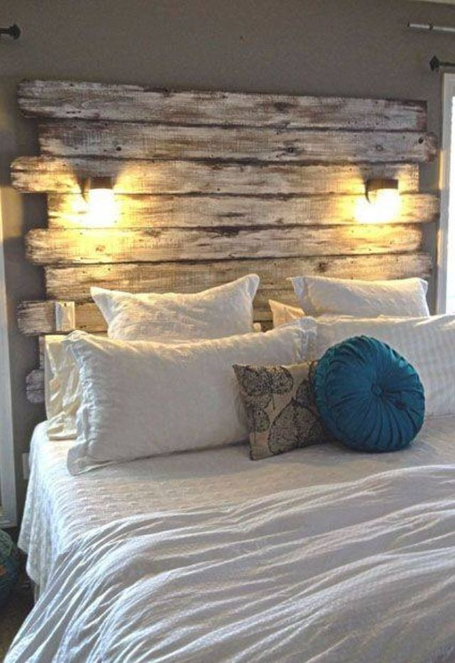 Whitewashed headboard